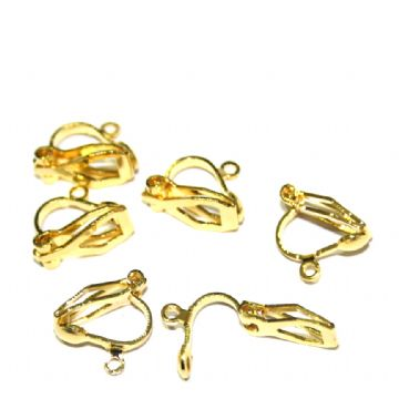 10 x 24mm gold plated clip earring with attachment - S.F06 -  WC241 - 2502114